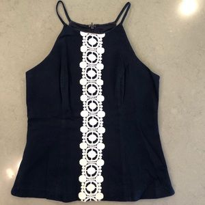 Lilly Pulitzer Navy Top with white embroidery
